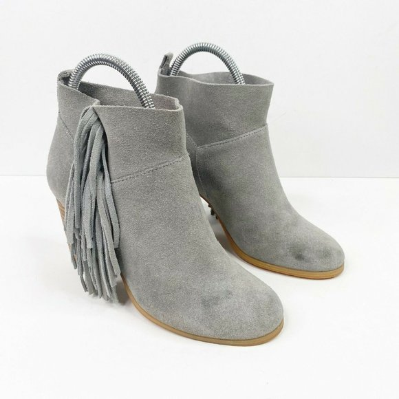 Crown Vintage Randi Fringe Ankle Booties 6 Gray